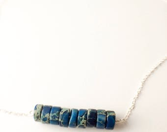 Sterling silver gemstone necklace with sodalite disks