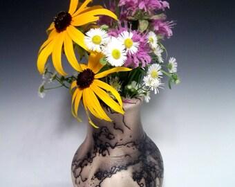 Handmade Horsehair Raku Pottery Ceramic Vase