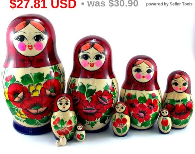 Nesting Dolls 10 pcs Russian Matryoshka doll Babushka doll Stacking dolls for kids Handpainted wooden russian doll art dolls Suvenirnaya