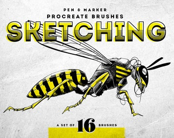 Sketching ink pen and marker Procreate Brushes - Set of 16 brushes - For the iPad app Procreate - Digital brushes - Digital art resources