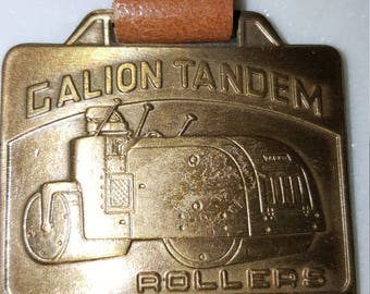 Vintage watch fob/leather strap/ Galion Ohio/Galion motor graders/tandem rollers/collectible