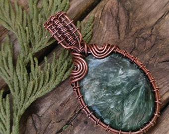 Seraphinite wire wrapped necklace pendant. Handmade jewelry. Crystal healing. Patina copper.