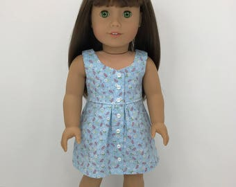 """18 inch ,18"""" doll clothes-  Blue flowered  surfrider dress and headband."""
