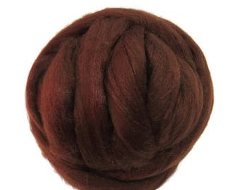SALE Merino / Silk  Roving, (Bark)