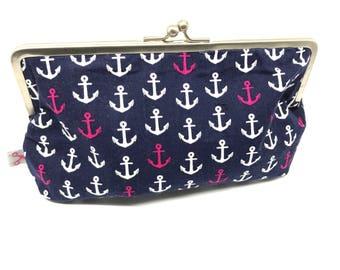 Metal frame kiss lock purse Anchors navy