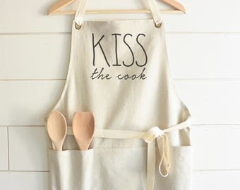 Kiss The Cook Apron // Kitchen // Baking // Cooking // Gift // Housewarming // Present // Birthday // Anniversary // Wedding