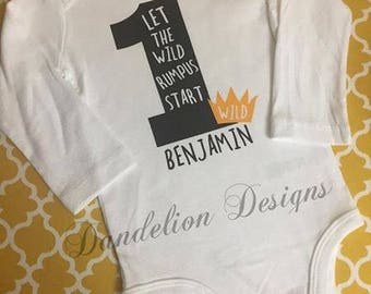 First Birthday Boy Wild Things King of Wild Things Let the wild rumpus start Baby Shirt Where The Wild Things Are 1st Birthday Party
