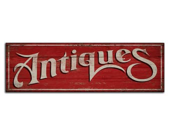 Antiques wood sign Antique wooden handmade farmhouse sign antiquites decor cottage business wall decor store sign shop signs