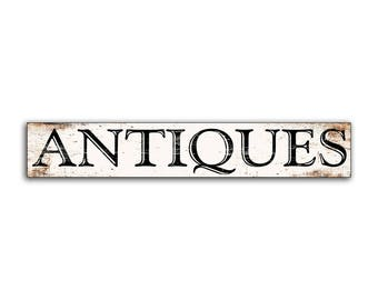 Antiques wood sign Antique wooden handmade sign farmhouse sign antiquites decor cottage business wall decor store sign shop signs