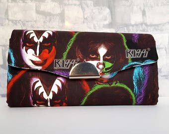 Ready to Ship - Necessary Clutch Wallet - KISS NCW - Handmade Wallet - Gene Simmons Wallet - KISS Wallet - Retro Wallet