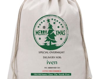 Personalised Santa Sack - Christmas Bag - Santa Bag - North Pole Bag