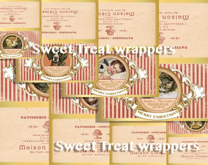 Printable Christmas Treat Bag Toppers, Favor Bag Label, Holiday Gift, Cats, Dogs, DIY Christmas Gift