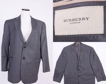 BURBERRY Men's Gray Plaid Jacket / Coat / Blazer