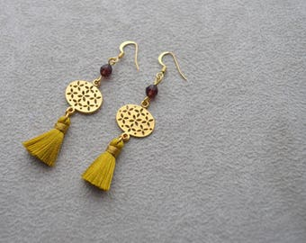 """Sumatra"" tassel earrings, Plum, gold plated Swarovski Crystal Pearl"