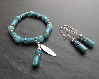 "bracelet and earrings ""Samoa"" agate, Jasper and silver finishes"