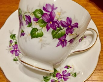 Vintage Duchess fine bone china - Violets teacup trio - beautiful purple violet pattern