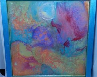 Coral Reefs - Fluid Art - 20cm wooden picture