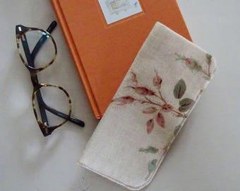 Glasses Case Rosebud Linen