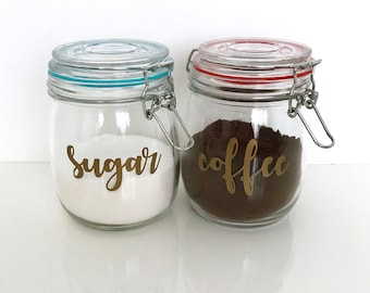 Vinyl Pantry Labels, Coffee and Sugar Gold Label, Coffee Station Labels