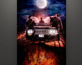 """Supernatural Inspired, """"Saving People, Hunting Things"""" 11X17 Art Print Sam Dean Winchester Castiel Cas Baby"""