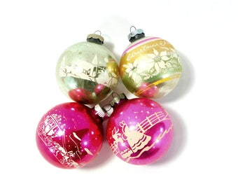 "Vintage Glass Christmas Ball Ornaments, Stenciled Mercury Glass Christmas Tree Balls, 3"" OrnamentsC59"