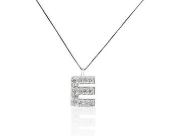 "Initial "" E "" 14K White Gold, 14 Round Diamond, in Prong Setting,  Pendant, - 1/2 CT .TW. Including chain"