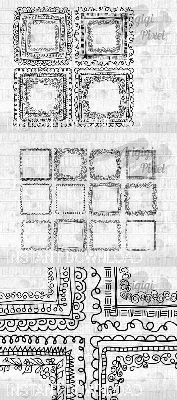 doodle square frames clip art set, hand drawn digital graphic, hand drawn clipart , scrapbooking ,  PNG download