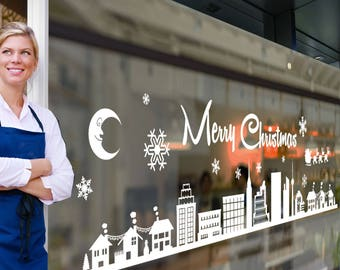 Merry Christmas Xmas Display Shop Window New Town City Scene Stickers Wall A295
