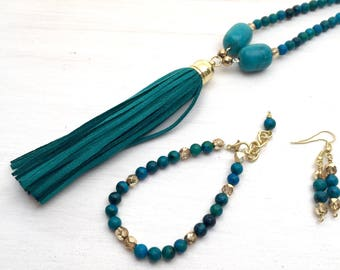 Teal beaded tassel necklace, Long beaded necklace teal, Tassel necklace jewelry set