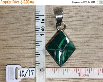 10% OFF 3 day sale Vintage 925 Sterling Silver 7.7g Pendant Mosaic Malachite Used
