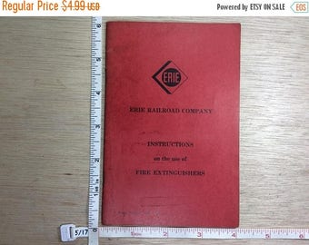 10% OFF 3 day sale Vintage Erie Railroad Company Fire Extinguisher Safety Instruction Book Used
