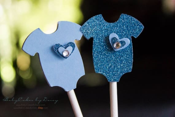 Baby Shower Cupcake Toppers 12 Pcs - Baby Blue & Sparkly Blue Onesie 3 Dimensional Toppers - Cupcake Topper - Blue Onesie with Layered Heart
