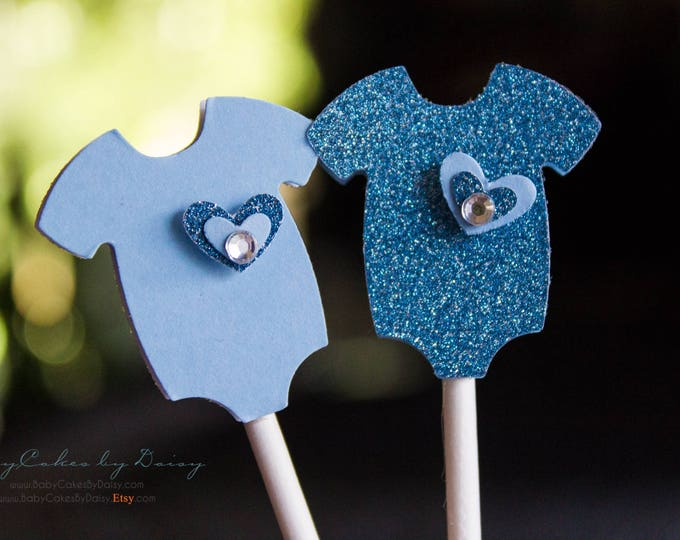 Featured listing image: 12 Baby Shower Cupcake Toppers - It's a Boy - Baby Shower - Baby Boy - Cupcake Topper - Blue Onesie with Layered Heart