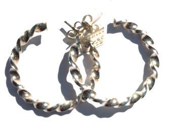 Sterling silver handmade twisted hoop earrings