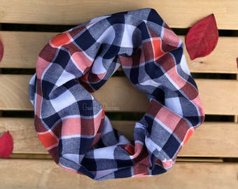 Baby scarf, Toddler Scarf, Infinity Scarf, Children's Plaid Infinity Scarf, Flannel Infinity Scarf, Infant/Toddler Scarf Orange and Blue