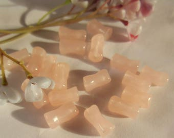 Pink set of 6 acrylic tube beads