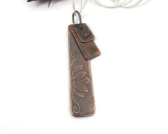 Lotus flower necklace - Lotus flower pendant - Lotus flower jewelry - Copper necklace pendant - Etched necklace - Etched flowers