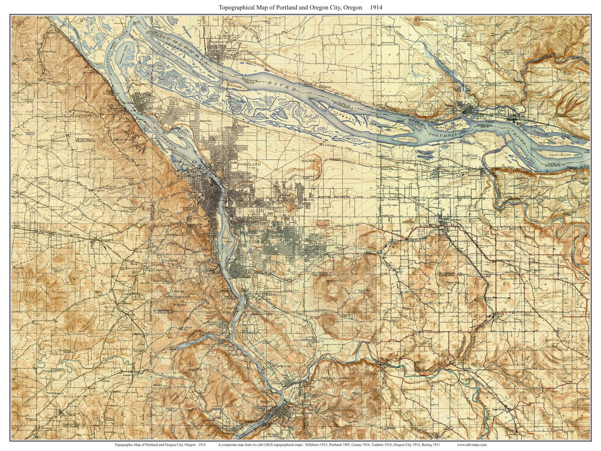 Portland And Oregon City Old Topographic Map USGS - Topographical map of oregon