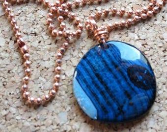 "Black Blue Druzy Agate ""Dark Side of the Moon"" Pendant Copper Ball Chain Blue Pendant Rustic Copper Bail"