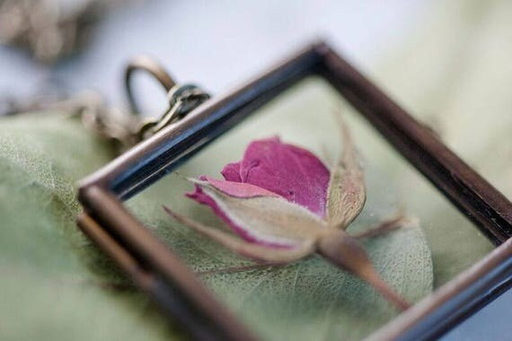REAL FLOWER Rose Bronze Locket - Glass Locket Rose Real Flower Necklace - Feminine Gift for Women - Free Postage Worldwide