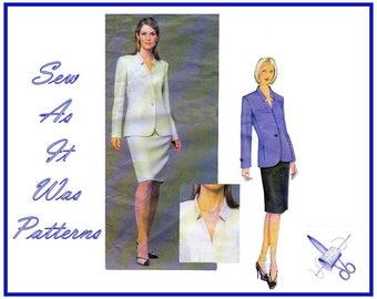 2000's Vogue Paris Original 2579 Guy Laroche Suit Two Piece Dress Jacket Skirt Invert Lapels Sewing Pattern Size 8 10 12 Bust 31 32 34
