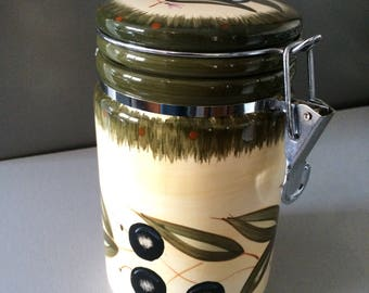 Vintage Kitchen Olive Storage Jar