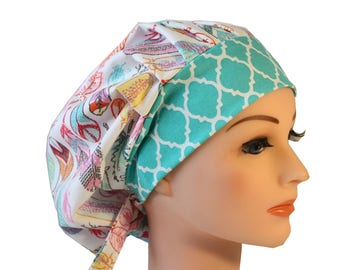 Scrub Cap Surgical Hat Chef   Dentist Hat Tie Back Bouffant Feathers Pink Teal Orange  2nd Item Ships FREE