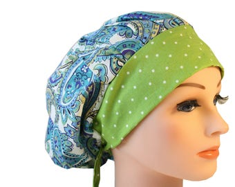Scrub Cap Surgical Hat Chef   Dentist Hat Tie Back Bouffant Blue Green Paisley 2nd Item Ships FREE