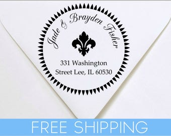 Fleur De Lis Custom Return Address Stamp - Self Inking. Personalized rubber stamp with lines of text