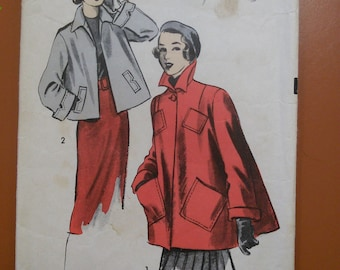 Advance 5446 Swing Car Coat Vintage Sewing Pattern 1950s 50s Size 13