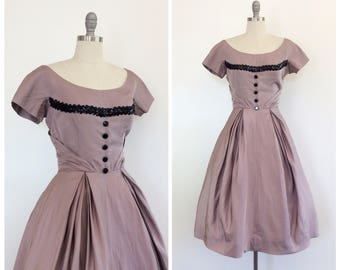 50s Silk Taupe & Black Party Dress / 1950s Vintage Dress / Medium / Size 6