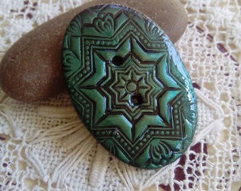 Oval metallic green button, focal button, patterned button, sewing, crafts, embellishments, jewellery, jewelry, ornate button, handmade
