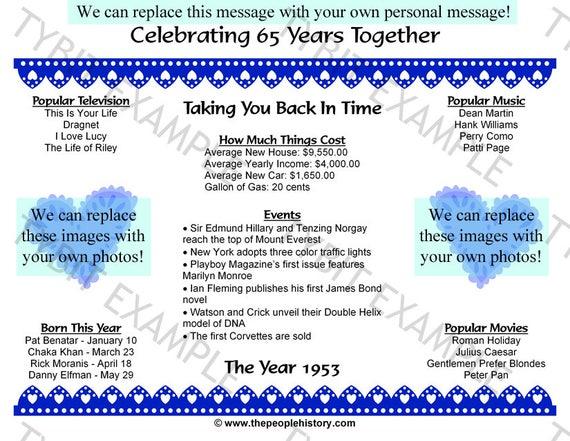 65th Wedding Anniversary Gift Ideas: 65th Wedding Anniversary 1953 Personalized Print