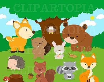 50% OFF SALE Forest Friends Animal Clip Art / Woodland  Animal Clipart / Forest Animal ClipArt / Cute Animal Clipart / Owl Clipart